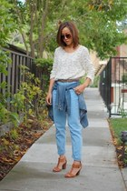 vintage top - BDG jeans - Karen Walker sunglasses - franco sarto sandals