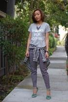 H&M top - madewell shirt - H&M pants - Steve Madden heels