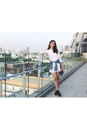 white blouse denim Uniqlo dress