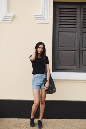 black crop top Topshop shirt - sky blue mom shorts Topshop shorts