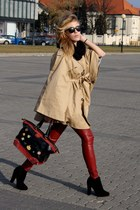 ruby red faux leather Calliope pants - black loewe bag - camel H&M cape
