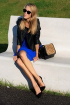 blue new look dress - black BHS jacket - brown Zara bag - brown vintage belt