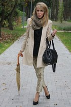 black Zara blazer - beige Zara coat - dark khaki second hand scarf