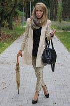 black Zara blazer - beige Zara coat - dark khaki second hand scarf