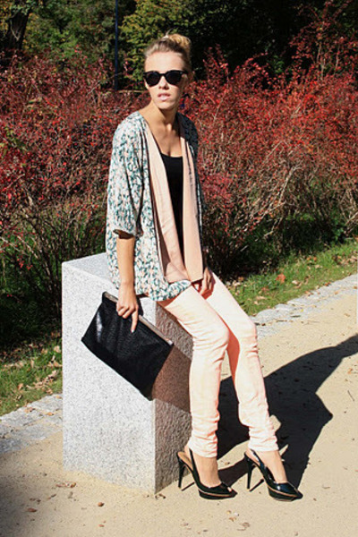 aquamarine H&M jacket - black DIY bag - nude second hand pants