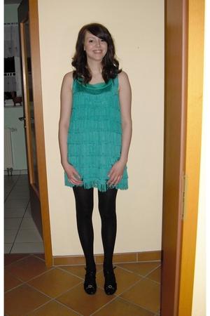 blue H&M dress - black tights