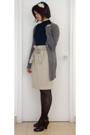Zara skirt - random brand blouse - Zara top - tights - Melissa shoes - accessori