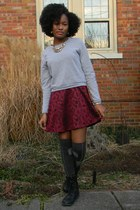 maroon thrifted dress - black born boots - heather gray sweatshirt