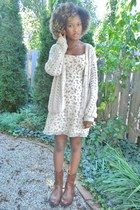 thrifted boots - thrifted dress - thrifted sweater