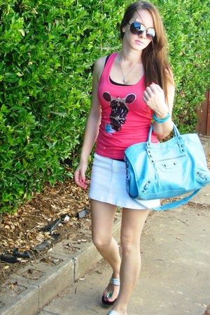 salmon Wet Seal shirt - sky blue balenciaga purse - silver sandals - white jeans
