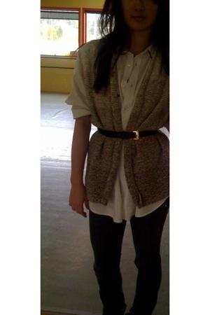 The Limited shirt - thrifted vest - Salvatore Ferragamo belt