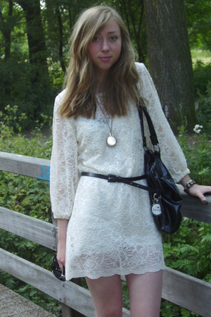 white Self Made dress - black H&M belt
