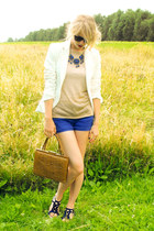 gold second hand V&D shirt - blue soft Desidesi sandals