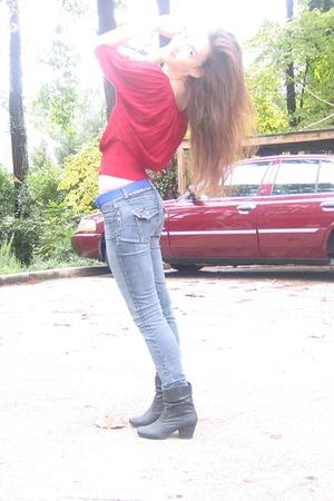 Forever 21 blouse - liz claiborne belt - jeans - Rampage boots