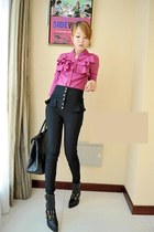 pink blouse - black boots - black bag - black pants
