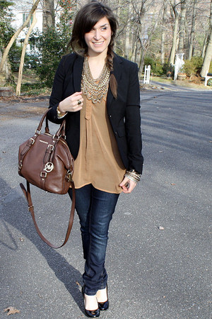 Chicos necklace - free people jeans - banana republic blazer - Forever21 shirt