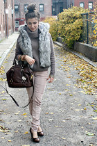 Michael Kors bag - Loft shoes - Express sweater - free people pants - Loft vest