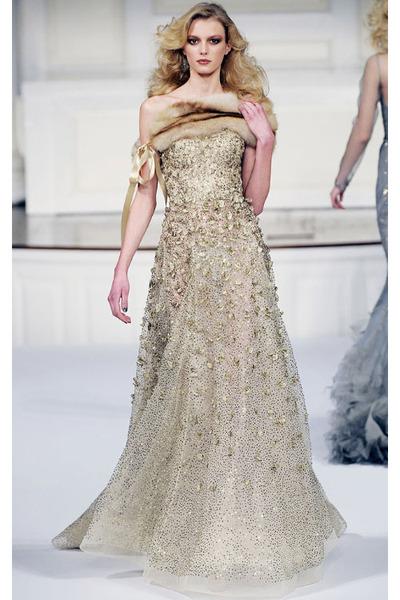 Gold Oscar De La A Dress