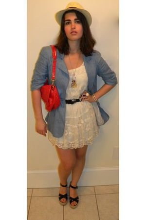 blue Nanette Lepore blazer - beige Forever 21 dress - red Marc by Marc Jacobs pu