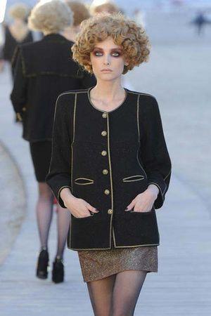 black Chanel blazer - red Chanel skirt