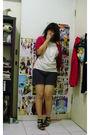 Red-cotton-ink-cardigan-white-trap-top-black-unbranded-shorts-black-unbran