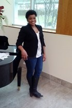 blazer - blk leather boots - skinnies jeans - silk blouse