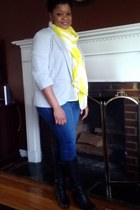 boots - skinnies jeans - blazer - neon accent scarf - blouse