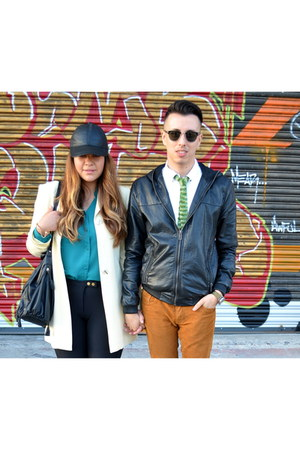 black asos hat - black zeroUV sunglasses - olive green AELA tie