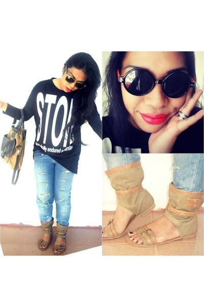 DIY ripped jeans - maru bag - thrifted top - cityline sandals