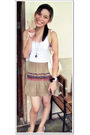 White-random-brand-blouse-brown-from-a-vintage-shop-skirt-brown-vintage-neck