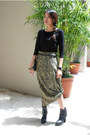 Beige-printed-thrifted-skirt-black-charles-and-keith-boots-black-armani-belt