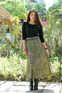 Black-charles-and-keith-boots-black-armani-belt-beige-printed-thrifted-skirt