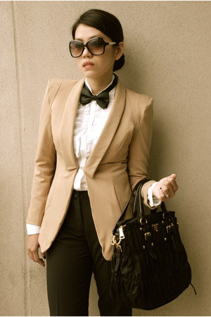 white Bally shoes - tan The Ramp coat - black classic Prada bag - black Aldo sun