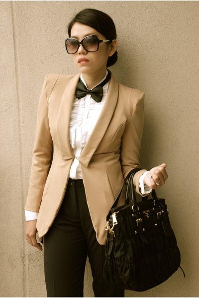 White Bally Shoes, Tan The Ramp Coats, Black Classic Prada Bags ...