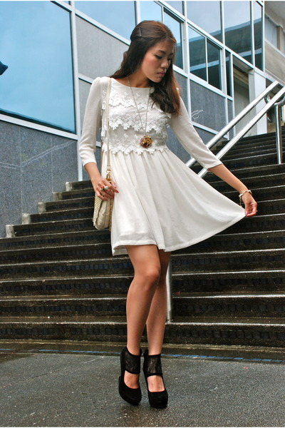 white laces Topshop dress - black janilyn wedges