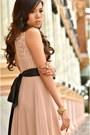 Light-pink-debbie-co-dress-black-mango-heels