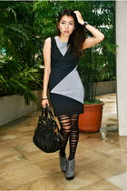 charcoal gray michael antonio boots - black dress - silver Charriol accessories