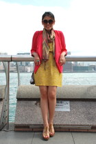 mustard Forever 21 dress - Forever 21 scarf - silver Zara bag - Aldo sunglasses