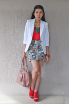white Zara blazer - red Topshop top - ivory H&M skirt - ruby red Juan wedges