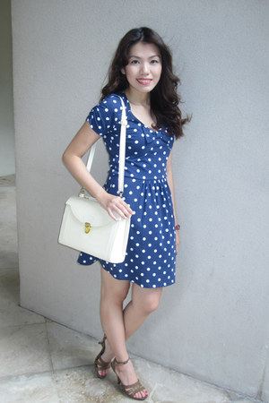brown CMG shoes - navy polka dots Bayo dress