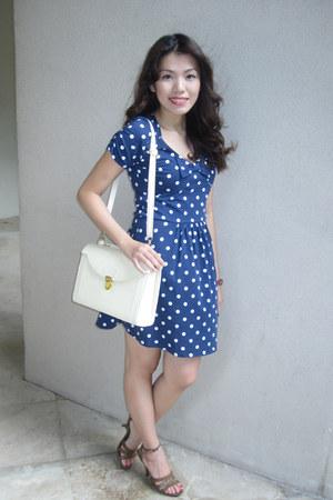 brown CMG shoes - navy polka dots Bayo dress
