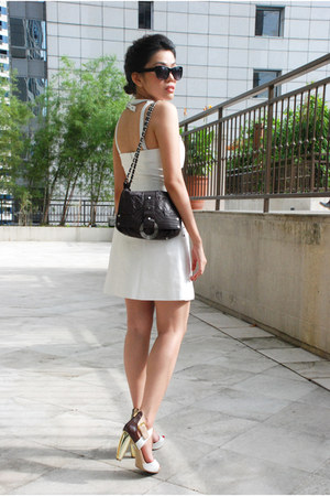 white emporio armani dress - dark brown Charriol bag