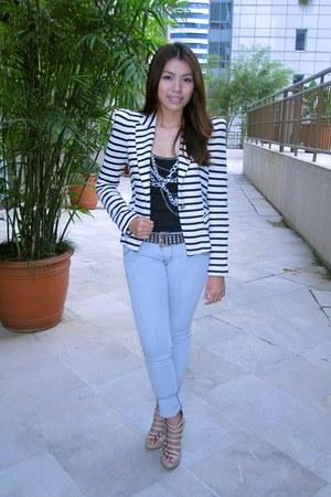 stripes Zara blazer - Zara blouse