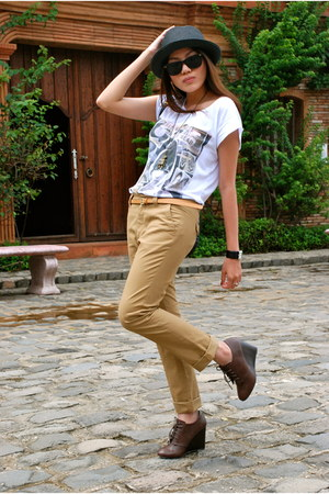 brown Forever 21 wedges - camel Zara pants - white Zara t-shirt