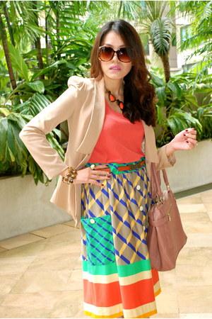 Mango skirt - coral Mango blouse - brown Topshop belt - off white Oro Nero heels