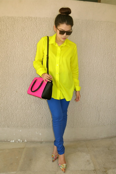 yellow neon by me top - blue giordano jeans - hot pink Michael Kors bag