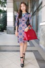 Navy-printed-mango-dress-ruby-red-alma-louis-vuitton-bag