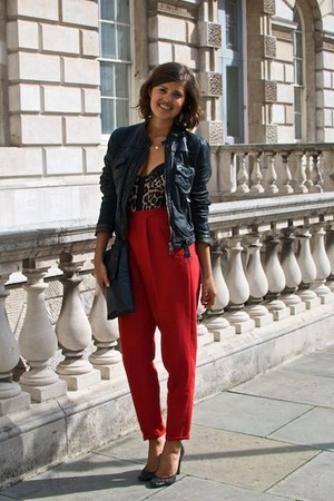 red pencil trouser thrifted pants - black leather bomber whistles jacket