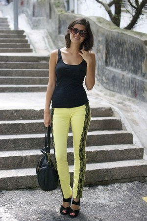 lime green diy lace J Brand jeans - dark brown Karen Walker sunglasses