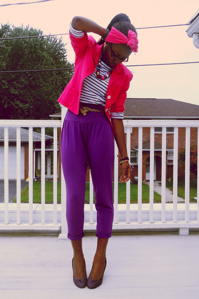 hot pink Chaps blazer - white striped Mink Pink shirt - hot pink scarf